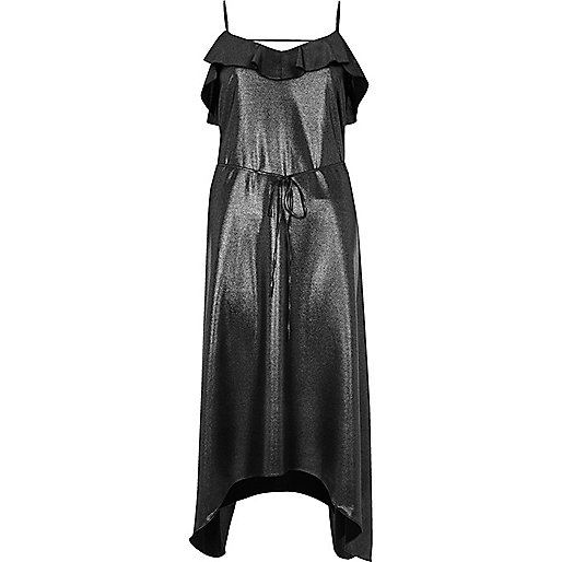 Metallic black frill slip dress