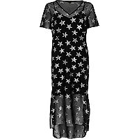 Black metallic star print T-shirt dress