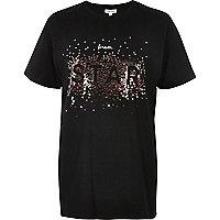 Schwarzes, paillettenverziertes Boyfriend-T-Shirt