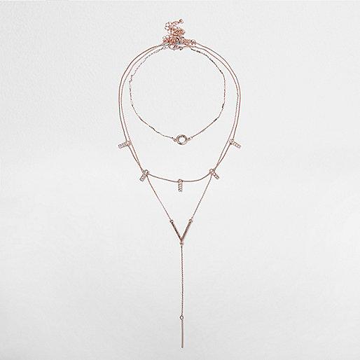 Lagen-Halskette in Roségold mit strassbesetztem Stab