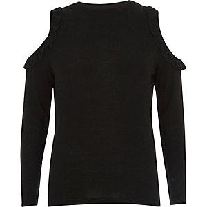 Black frill cold shoulder top