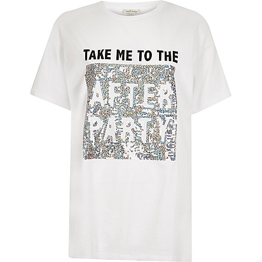 T-shirt boyfriend blanc à sequins