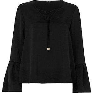 Black satin flared sleeve top