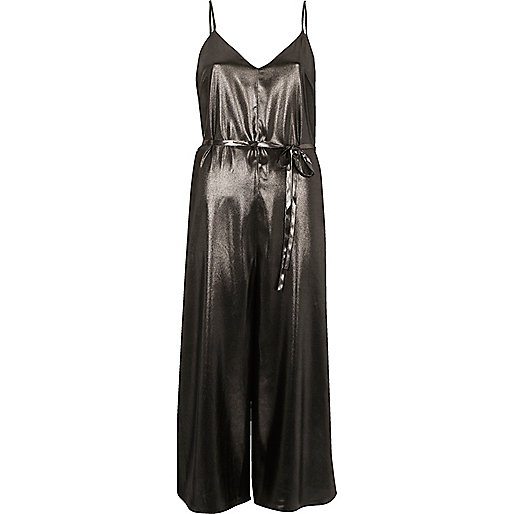 Dark silver metallic culotte jumpsuit
