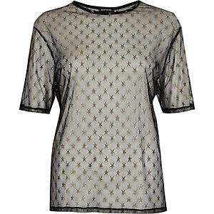 Black star sheer mesh T-shirt