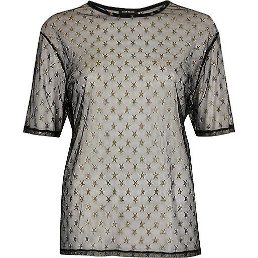 T-shirt noir avec tulle transparent motif étoile
