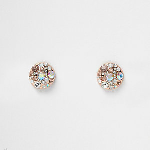 Rose gold tone AB effect stone stud earrings
