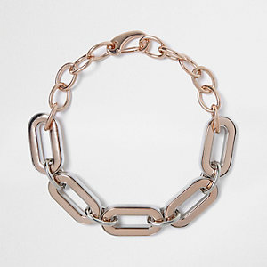 Rose gold tone large chain necklac