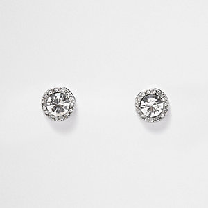 Silver tone crystal embellished stud earrings