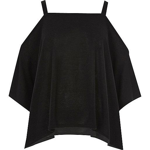 Black cold shoulder hanky hem top