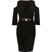 Schwarzes Bodycon-Kleid mit Schulterausschnitten und Gürtel