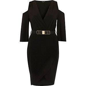 Black belted cold shoulder bodycon dress