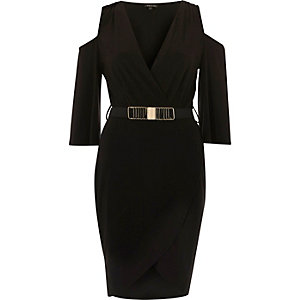 Black belted cold shoulder bodycon dress
