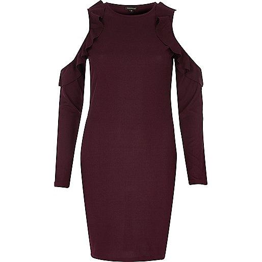 Burgundy frill cold shoulder bodycon dress