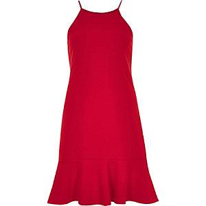 Robe caraco rouge avec ourlet à volant