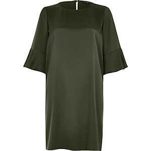 Khaki green frill sleeve swing dress