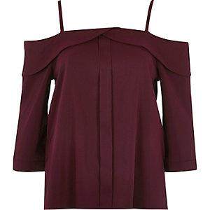 Burgundy placket cold shoulder top