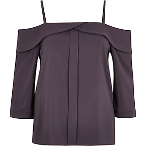 Dark grey placket cold shoulder top