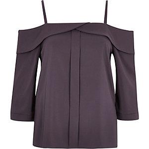 Dark grey placket cold shoulder top