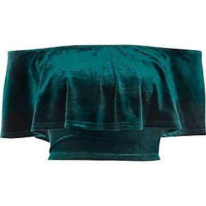 Green velvet deep frill bardot crop top