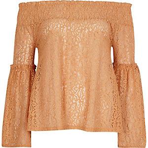 Orange lace flared sleeve bardot top