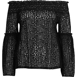 Black lace frill sleeve bardot top