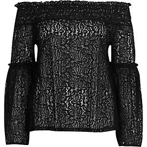 Black lace frill sleeve bardot top