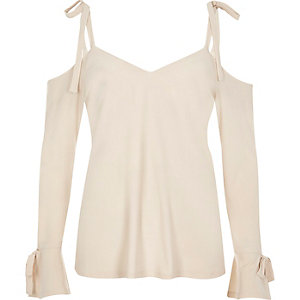 Cream tied cold shoulder top