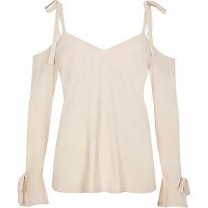 Cream tie shoulder long sleeve top