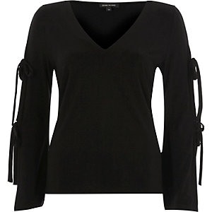 Black tied sleeve top