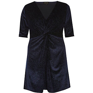 Plus navy sparkly velvet knot dress