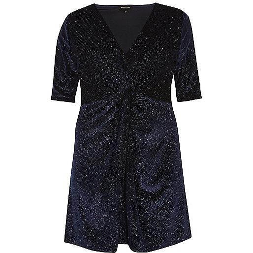 Plus navy sparkly velvet knot dress