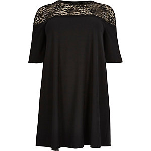 Plus black lace panel swing dress
