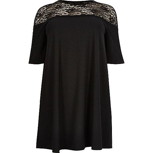 Plus black lace panel swing dress