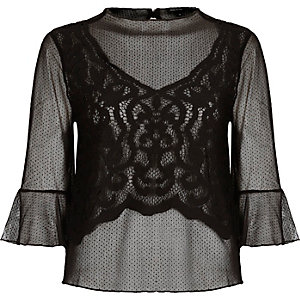 Black mesh lace flared sleeve top
