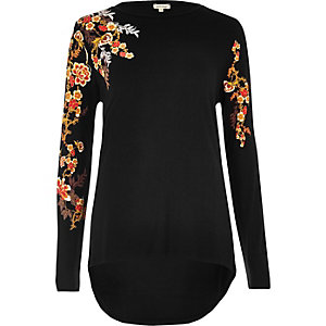Black floral puff print top
