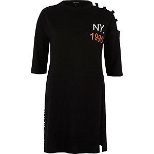 Black short sleeve NY jumbo T-shirt