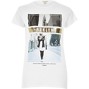 White metallic print T-shirt