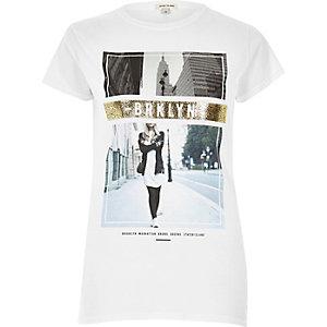 T-shirt blanc à imprimé métallisé