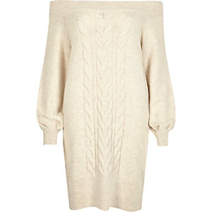 Cream bardot cable knit dress
