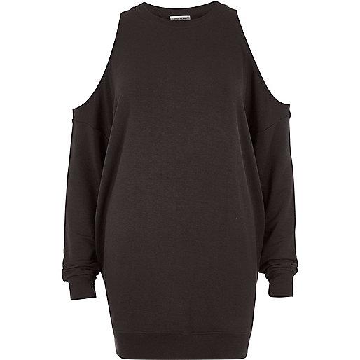 Dark grey cold shoulder sweatshirt