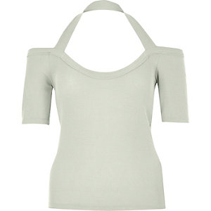 Green halterneck bardot top