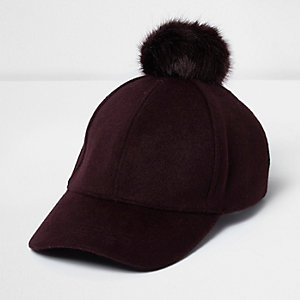 Dark purple wool pom pom cap