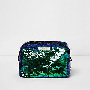 Green sequin make-up bag