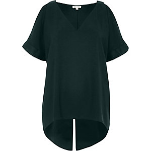Green cold shoulder V-neck top
