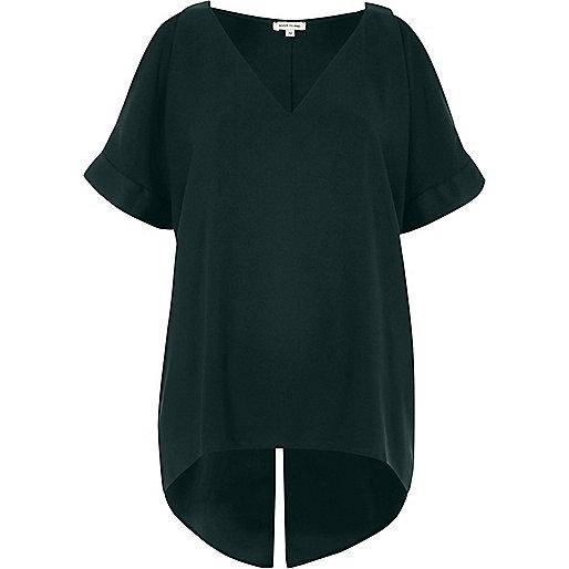 Green cold shoulder V-neck top