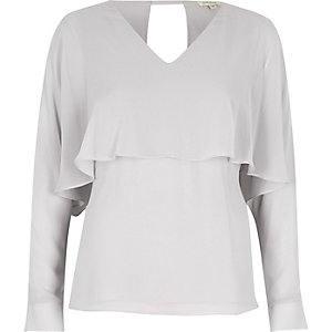 Grey angel cape top