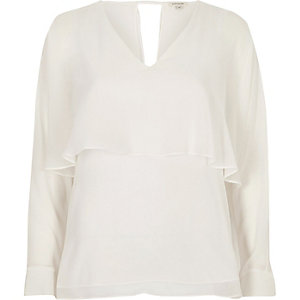 Cream angel cape top