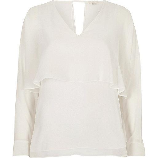 Cream angel cape top