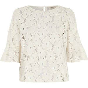 Cream floral lace top
